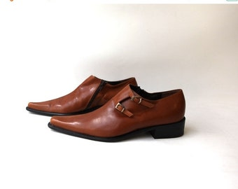 ON SALE Vintage Italian designer Dada pointy toe tan leather booties short boots sz 36