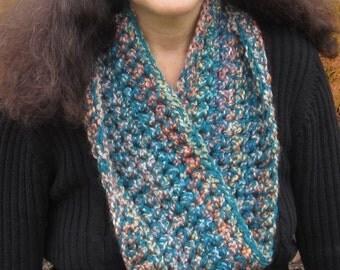 CROCHET PATTERN: Infinity Scarf, Teal Multicolor, Scarf Pattern, Infinity Scarf Crochet