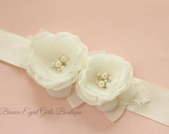 Ivory Wedding Sash, Ivory Bridal Sash, Ivory Wedding Belt,  Ivory Bridal Belt - Ivory Flowers