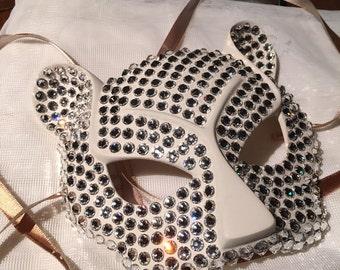 Sparkly White Swarovski Cheetah Mask