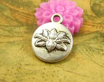 20 pcs Antique Silver Lotus Charm Water Lilly Charms 13x13mm CH2685