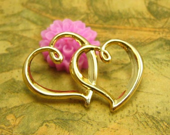 10 pcs Gold Twin Heart Charms 32x20mm CH2424