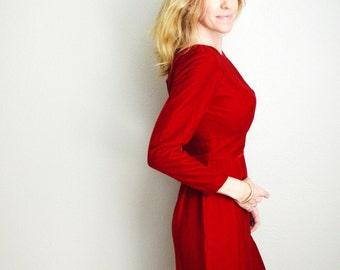 Vintage 60s Red Velvet Pencil Knee Length Dress // womens small
