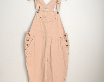 Vintage 90s Tan Cotton Overall Pants // Dungarees // womens large