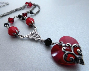 Red crystal heart necklace, antiqued silver filigree on heart, black red Austrian crystal bead chain, Valentine jewelry gift for girlfriend