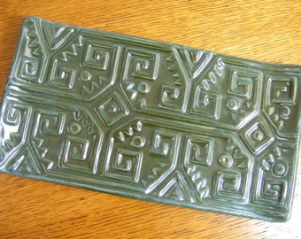 Handmade Pottery Tray, Serving Tray, Appetizer Tray, Blue Tray, Stamped Tray, Aztec Serving Tray, 0654, 0653