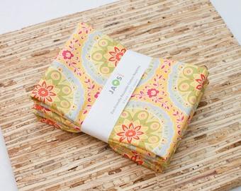 Large Cloth Napkins - Set of 4 - (N2661) - Yellow Floral Medallion Modern Reusable Fabric Napkins