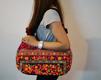 Thai Hmong Bag, Hill Tribe Tote Handbag, Orange Flowers Embroidered Thai Bags, Boho Ethnic Bag, Pom Pom Bag