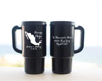 Wedding Favors Riviera Maya Mexico Beach Wedding - 50 Personalized 14oz Travel Mugs - Can be Customized with any Location Guest Gifts