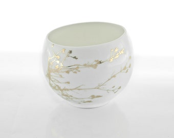 Porcelain Cup with Golden Twig - Tea Cup - Modern Espresso Cup