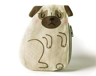 Pug Coin Purse, Dog, Cotton, brown