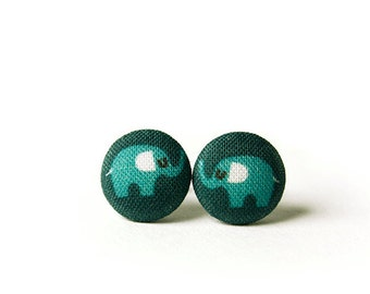 Elephant Stud Earrings, Fabric Buttons, Small Ear Studs, Earrings for Children, Gift for Her