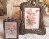 art nouveau vintage shabby chic metal picture frame very old and heavy