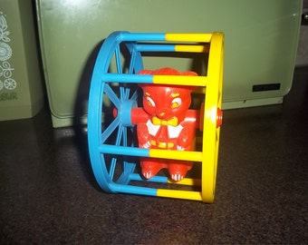 Vintage Arco Toy Rolling Wheel - Baby Toy with plastic bear
