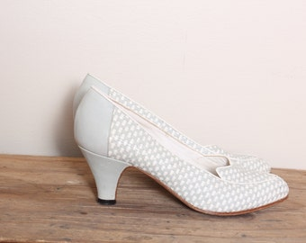 Vintage Grey and White weaved Heels Size 6