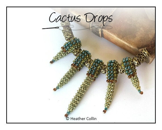Beading Pattern, Instructions, Short and Spikey Necklace, Tutorial CACTUS DROPS
