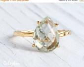 WINTER SALE - Green Amethyst Ring - Feburary Birthstone Ring - Gemstone Ring - Stacking Ring - Gold Ring - Tear Drop Ring - Prong Set Ring
