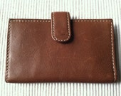 "Vintage 80's  ""UNISEX LEATHER WALLET""  Thin Brown Credit Card Wallet"