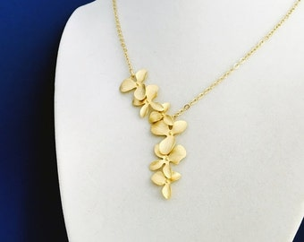 Elongated Gold Orchid Flower Necklace, 14K Gold Filled Chain, Gift for Her