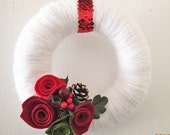 Felt Flower Christmas Wreath, Red Rose Wreath w/ Berries and Pine Cones, Snow White Wreath, Red and White Wreath, 10 inch, Holiday Decor