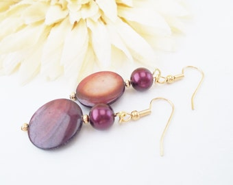 Burgundy Earrings, Statement Earrings, Mother of Pearl Shell Earrings, Clip On Earrings, Nickel Free Earrings, Dark Red Pearl Drop Earrings