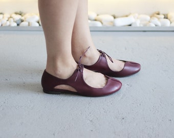 Clementine - Wine - FREE SHIPPING Handmade Leather Shoes with Summer Sale Price