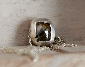 raw rough natural diamond-drilled sideways pendant -simplistic sterling silver necklace-one of a kind enzo luccati