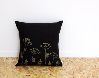 Black and Gold Cushion cover with dill flowers