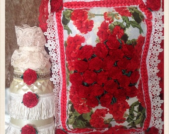 Red Roses Bouquet Pillow