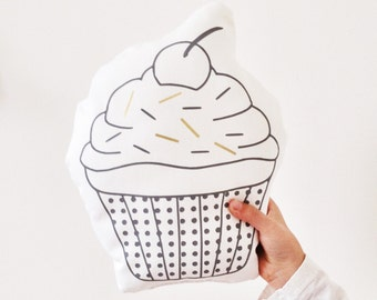 CUPCAKE mini cushion, organic white cotton mini cushion with cupcake print and gold sprinkes, monochrome nursery decor, kids room cushion