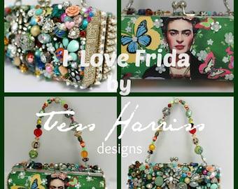 Sample Sale .. Frida Kahlo Clutch Bag . Frida Art Bag . Beaded Evening Bag . OOAK Bag .  O-O-A-K ...  Sample Sale