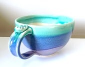Cappuccino Mug, Soup Mug, Lavender Green and Blue, handmade stoneware pottery by RiverStone Pottery