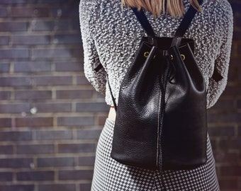 Leather Drawstring Backpack - Nomad - MADE TO ORDER
