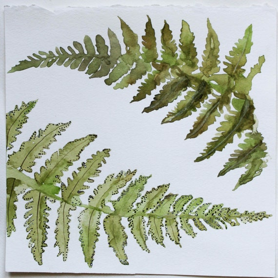 Botanical Fern Watercolor Art Print-Etched Into Nature No.1 9x9
