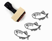 Fish Stamp - Hand Drawn Freida Fish Rubber Stamp by Creatiate