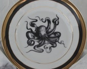 Black and Gold Octopus Plates, Sealife China, Nautical Plates, Octopus Squid Dishes, Tentacle Dinnerware, Customizable, Payment Plans