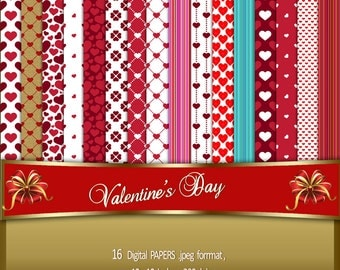 VALENTINE'S DAY digital papers, backgrounds with hearts, scrapbooking, invitations, anniversaries, birthdays, announcements, stationary,