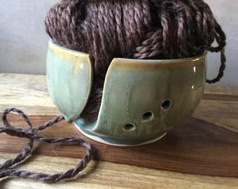 Handmade Ceramic Yarn Bowl, Pottery Yarn Bowl, Rustic Green Yarn Bowl, Knitter's Bowl, Crochet Bowl, Knitting Bowl