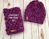 Puff Stitch Crochet Hat & Cowl Pattern Set, Chunky Crochet Hat Pattern, PDF Pattern