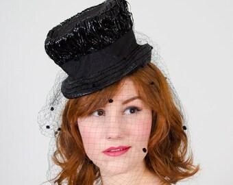 25% OFF SALE / 1940s vintage hat / straw tilt hat / Seeing Spots
