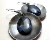 Holiday Sale Impression Jasper earrings with metal discs Industrial Jewelry in Denim Blue