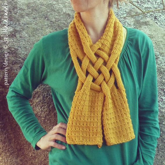 Cowl Scarf Knit Pattern - easy weave knitting PDF - unisex neckwarmer cowl scarves - Instant Download