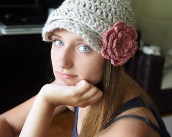Crochet Pattern newsboy hat with flower , bulky hat, brimmed hat, woman, man  brim hat,  DIY photo tutorial, Instant download