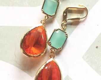 Aqua and Orange Bridesmaid Earrings. Jewel Fashion Earrings. Mint and Orange Dangle Earrings. Drop Earrings. Gift.