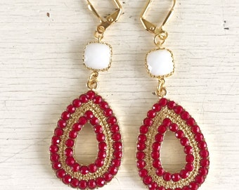 Red and White Statement Earrings in Gold.  Bold Summer Statement Earrings. Dangle Earrings. Jewelry. Gift. Chandelier Earrings.