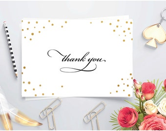 Printable Thank you note ~ Gold foil ~ Folded thank you card ~ Wedding thank you card ~ Party thank you ~ Confetti card ~ Shower thank you