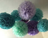 Tissue Paper Pom Poms -Set of 10- under the sea Party - Mermaid birthday party Decorations - Ariel little mermaid Party - Purple Aqua Mint