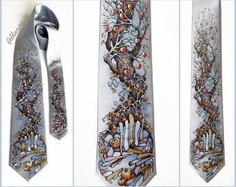 """Hand-painted Silk Tie """"Winter Apples"""". Gray Silk Tie. Gift for Him. Original Artwork on Silk Satin.  Autumn Tree Necktie."""