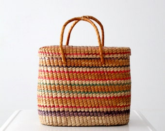 FREE SHIP vintage basket tote, hand woven multi-color beach bag, storage basket