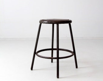 vintage industrial stool, metal work stool